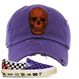 Vans Slip On Venice Beach Pack Distressed Dad Hat | Purple, Skull
