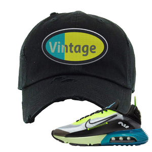 Air Max 2090 Volt Distressed Dad Hat | Vintage Oval, Black