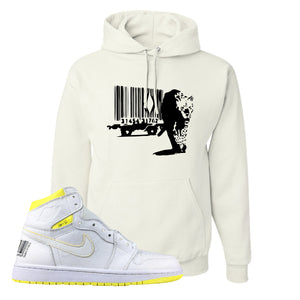 Air Jordan 1 First Class Flight Barcode Leopard White Sneaker Matching Pullover Hoodie