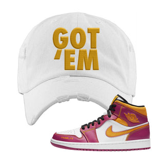 Air Jordan 1 Mid Familia Distressed Dad Hat | Got Em, White