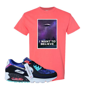Air Max 90 Galaxy T Shirt | Coral Silk, I Want to Believe