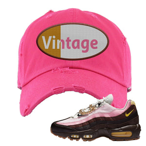 Air Max 95 Cuban Links Distressed Dad Hat | Pink, Vintage Oval