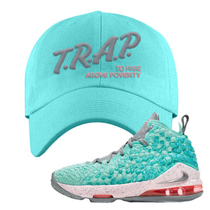 Lebron 17 South Beach Dad Hat | Trap to Rise Above Poverty, Diamond Blue