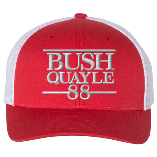 Standard Issue Bush Quayle 1988 Campaign Grunt Life Red/White Trucker Flexfit Hat