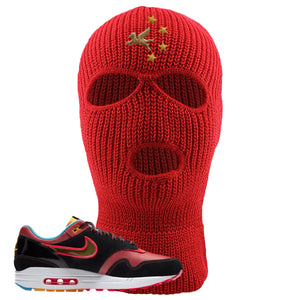 Air Max 1 NYC Chinatown Ski Mask | Red, Pegasus With Chinese Stars