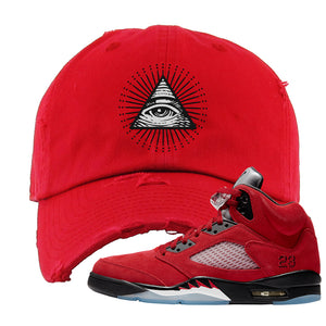 Air Jordan 5 Raging Bull Distressed Dad Hat | All Seeing Eye, Red