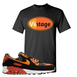 Air Max 90 Orange Camo T Shirt | Vintage Oval, Black