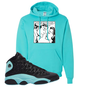 Fake Love Scuba Blue Pullover Hoodie To Match Jordan 13 Island Green Sneakers