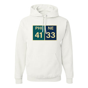 Eagles Superbowl Score Pullover Hoodie | Eagles Superbowl Scorecard White Pullover Hoodie the front of this hoodie has the superbowl score card on i t