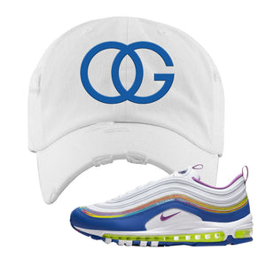 Air Max 97' 'Easter' Sneaker White Distressed Dad Hat | Dad Hat to match Nike Air Max 97' 'Easter' Shoes | OG