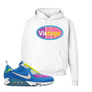 Undefeated x Air Max 90 Pacific Blue Sneaker White Pullover Hoodie | Hoodie to match Undefeated x Nike Air Max 90 Pacific Blue Shoes | Vintage Oval
