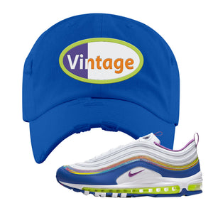 Air Max 97' 'Easter' Sneaker Royal Distressed Dad Hat | Dad Hat to match Nike Air Max 97' 'Easter' Shoes | Vintage Oval
