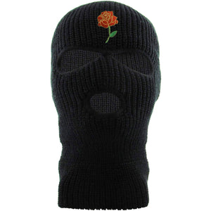 Embroidered on the forehead of the black three hole rose bud ski mask is the rose bud logo in red, green, and metallic gold