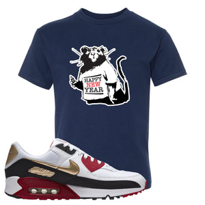 Air Max 90 Chinese New Year Kid's T Shirt | Navy Blue, Happy New Year Rat