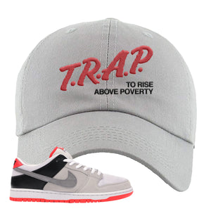 Nike SB Dunk Low Infrared Orange Label Trap To Rise Above Poverty Light Gray Dad Hat To Match Sneakers