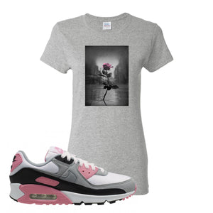 WMNS Air Max 90 Rose Pink Concrete Rose Ash Women's T-Shirt To Match Sneakers