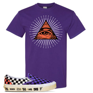 Vans Slip On Venice Beach Pack T Shirt | Purple, All Seeing Eye