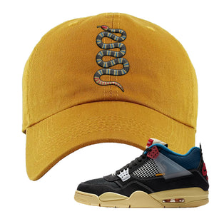 Union LA x Air Jordan 4 Off Noir Dad hat | Coiled Snake, Wheat