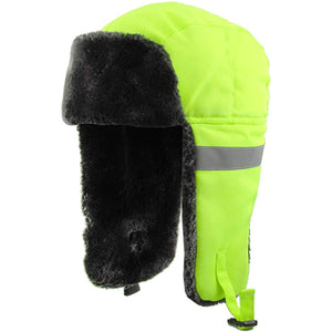 the interior of the high visibility safety green trapper hat is black