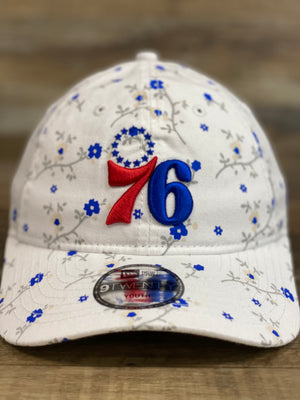 front of Philadelphia 76ers Kid and youth floral dad hat  blossom spring flower print 920 DAD HAT | New era kids dad hat