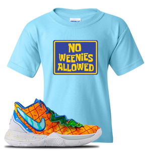 Kyrie 5 Pineapple House Kid's T-Shirt | Sky Blue, No Weenies Allowed