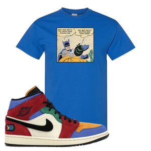 Jordan 1 Mid Fearless Blue The Great Slap Royal Blue Sneaker Hook Up T-Shirt
