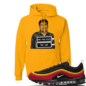 Air Max 97 Black//Chile Red/Magma Orange/White Sneaker Gold Pullover Hoodie | Winter Mask to match Nike Air Max 97 Black//Chile Red/Magma Orange/White Shoes | EL Chapo Illustration