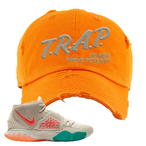Kyrie 6 N7 Distressed Dad Hat | Orange, Trap To Rise Above Poverty