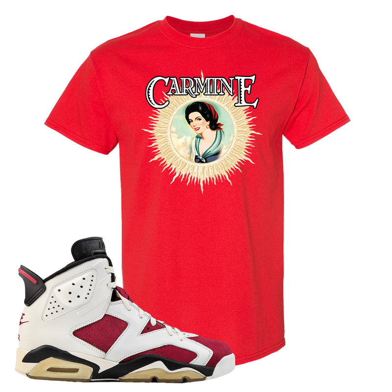 Jordan Jordan 6 Carmine Sneaker Red T Shirt | Tees to match Nike  Shoes |  Carmine Sauce