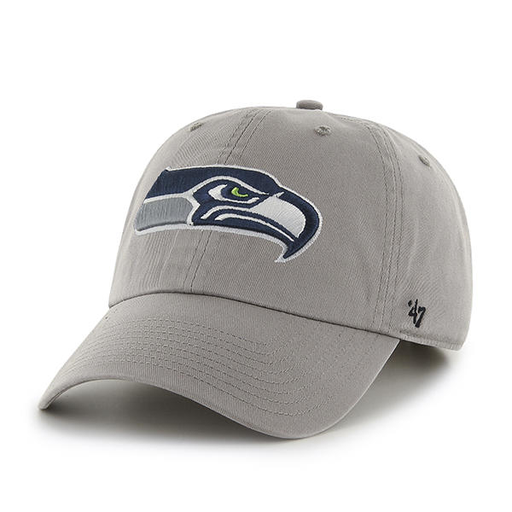 embroidered on the front of the seattle seahawks gray dad hat is the seattle seahawks logo
