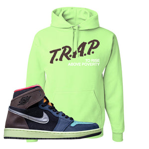Air Jordan 1 Retro High OG 'Bio Hack' Hoodie | Neon Green, Trap To Rise Above Poverty