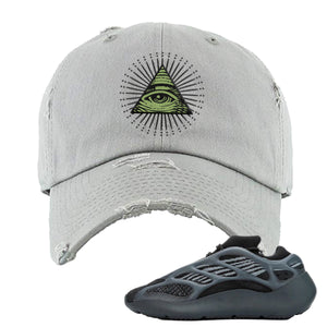 Yeezy Boost 700 V3 Alvah Sneaker Ash Distressed Dad Hat | Hat match Adidas Yeezy Boost 700 V3 Alvah Shoes | All Seeing Eye