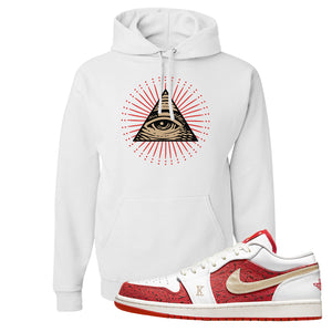 Air Jordan 1 Low Spades Hoodie | All Seeing Eye, White