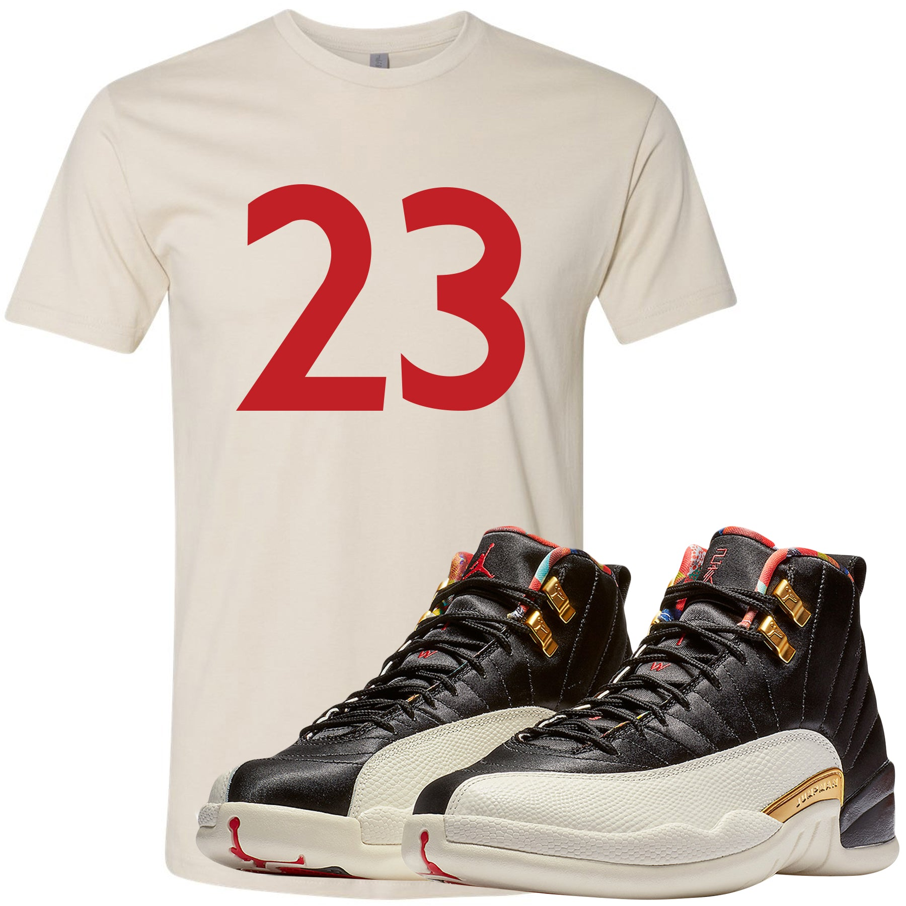 the latest 57ccb ed0a2 Jordan 12 Chinese New Year Sneaker Matching 23 Cream T-Shirt