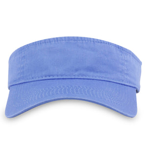 The ultramarine blue visor is a light blue color with a mid height crown and a bent brim