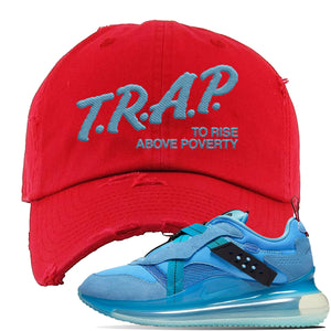 Air Max 720 OBJ Slip Light Blue Distressed Dad Hat | Red, Trap To Rise Above Poverty