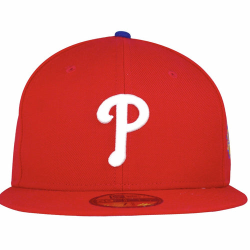 on the front of the philadelphia phillies 1993 world series fitted cap is a white philadelphia phillies logo