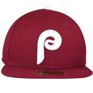 the Philadelphia Phillies 1980 World Series Patch fitted cap has a white Philadelphia Phillies Cooperstown logo embroidered