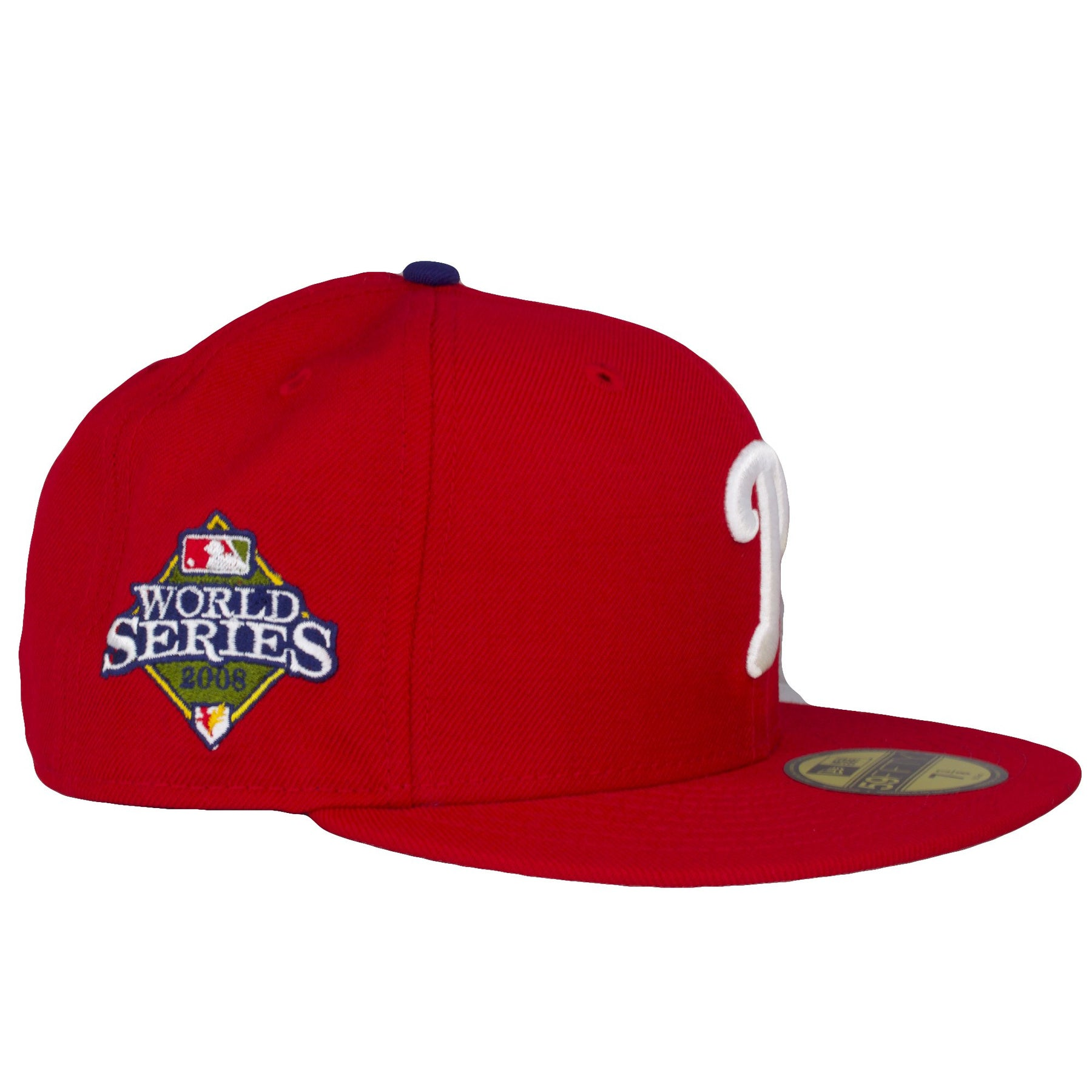 ... on the right side of the philadelphia phillies 2008 world series fitted  cap is the 2008 d5f82c02be4