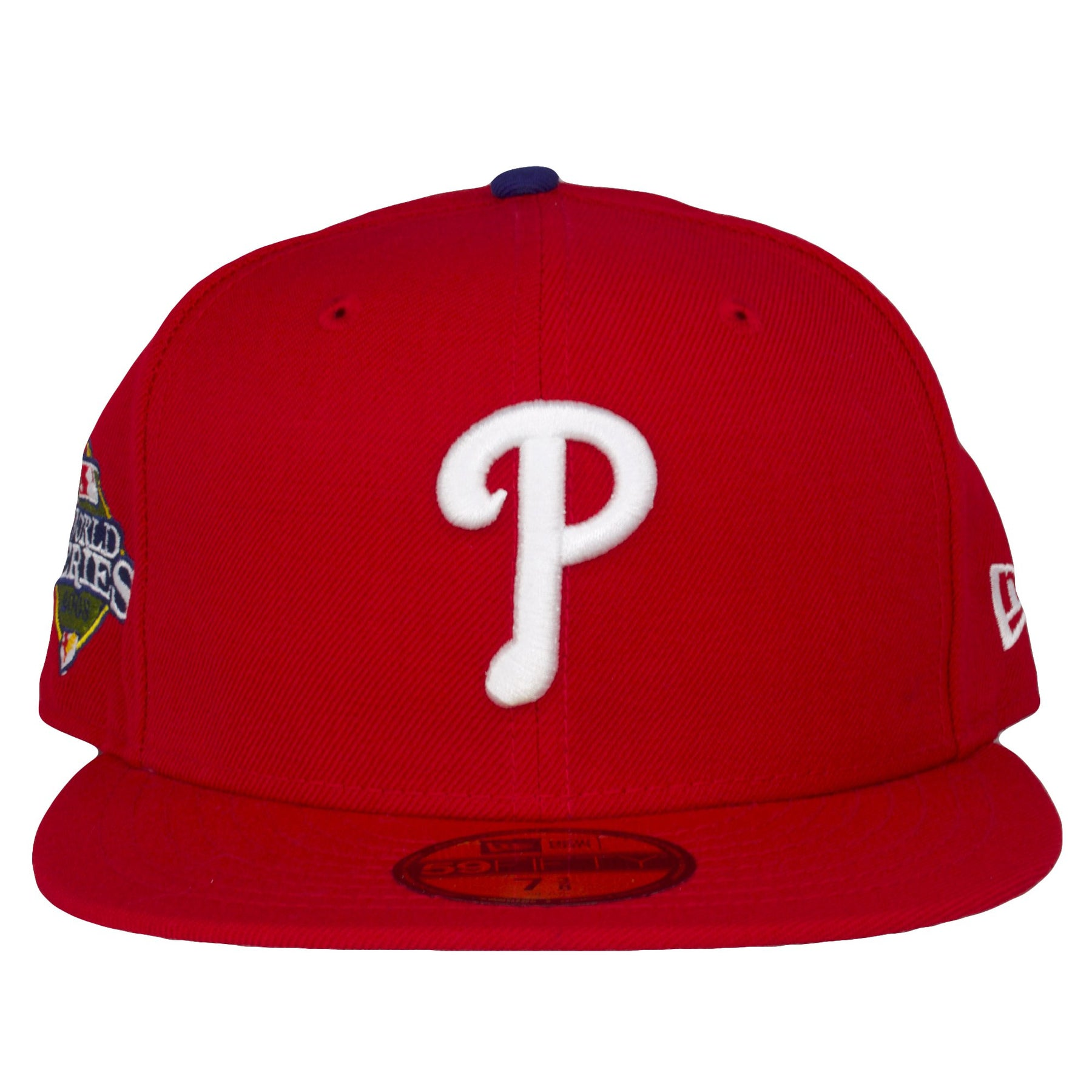 brand new 76fd6 1f302 on the front of the 2008 world series philadelphia phillies fitted cap is  the white phillies