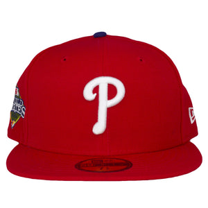 on the front of the 2008 world series philadelphia phillies fitted cap is the white phillies logo