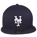 this new york mets subway series fitted cap has a white new york mets logo embroidered on the front