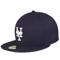 on the left side of the new york mets subway series new era 5950 fitted cap is the new era logo embroidered in navy blue