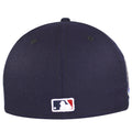 on the back of the new york mets 2000 subway series fitted cap is the mlb logo embroidered in red, white, and blue