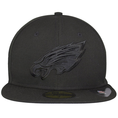 on the front of the black on black Philadelphia Eagles fitted cap, the Eagles logo is embroidered in solid black on the front of a black fitted cap.