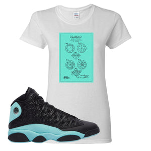 Diamond Patent White Women's T-Shirt To Match Jordan 13 Island Green Sneakers