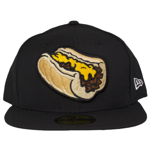 on the front of the Philly Cheesesteak Witout fitted cap is a Philly Cheese steak without onions embroidered in tan, yellow, and brown