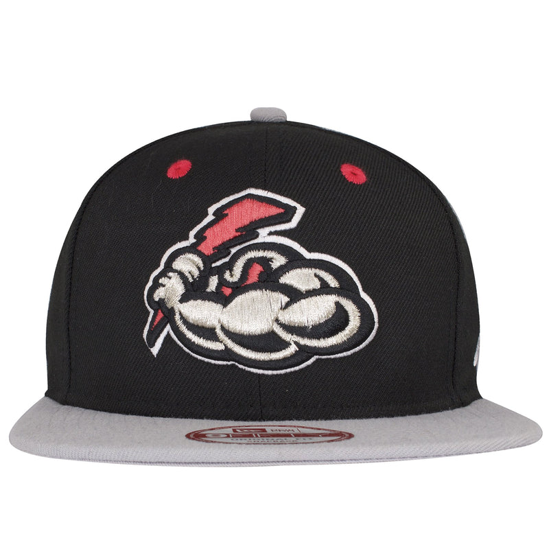 On the front of the Minor League Baseball Trenton Thunder Black on Gray snapback hat is the Trenton Thunder logo embroidered in silver and infrared.