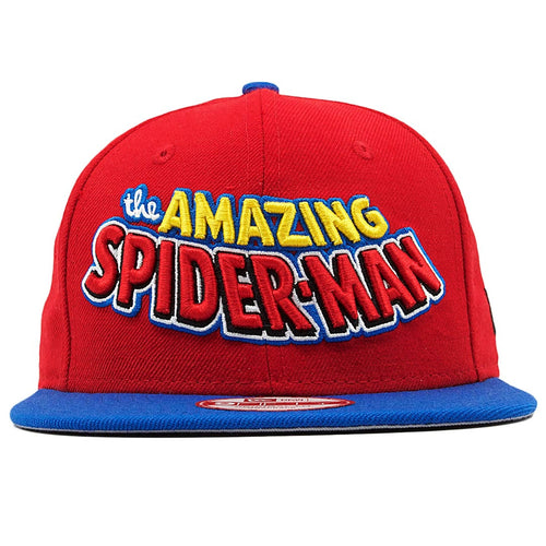 the spiderman homecoming amazing spiderman snapback has a retro comic style lettering embroidered on the front in yellow, blue, red, and black