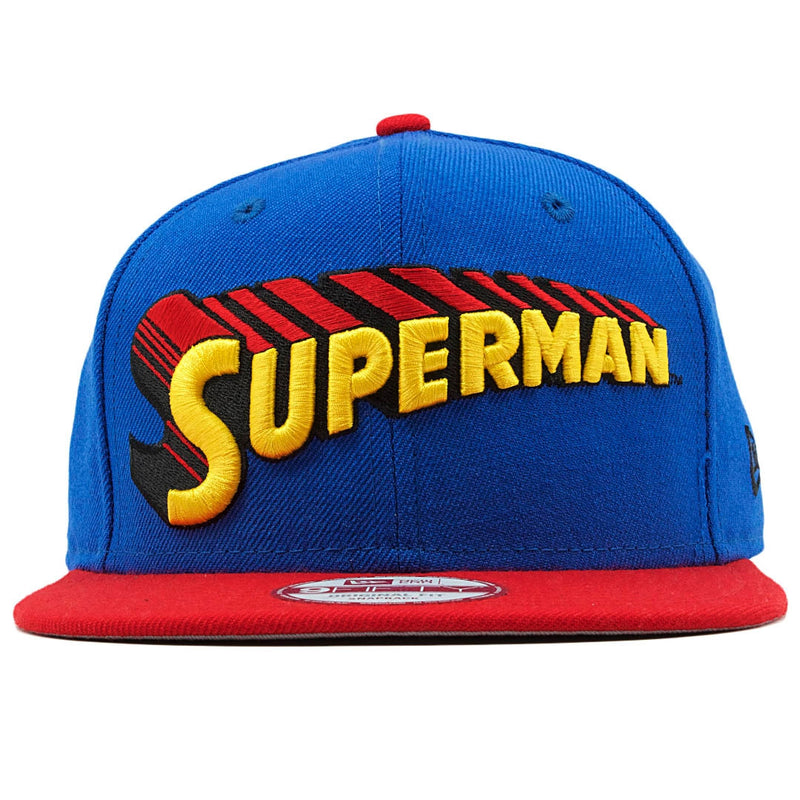 the retro vintage superman dc comics snapback has the superman wordmark on it embroidered in yellow, red, and black